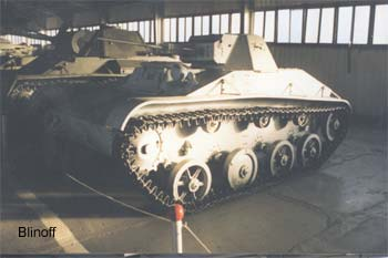 WWII early period soviet T-60 Light tank on the base of the truck engine.