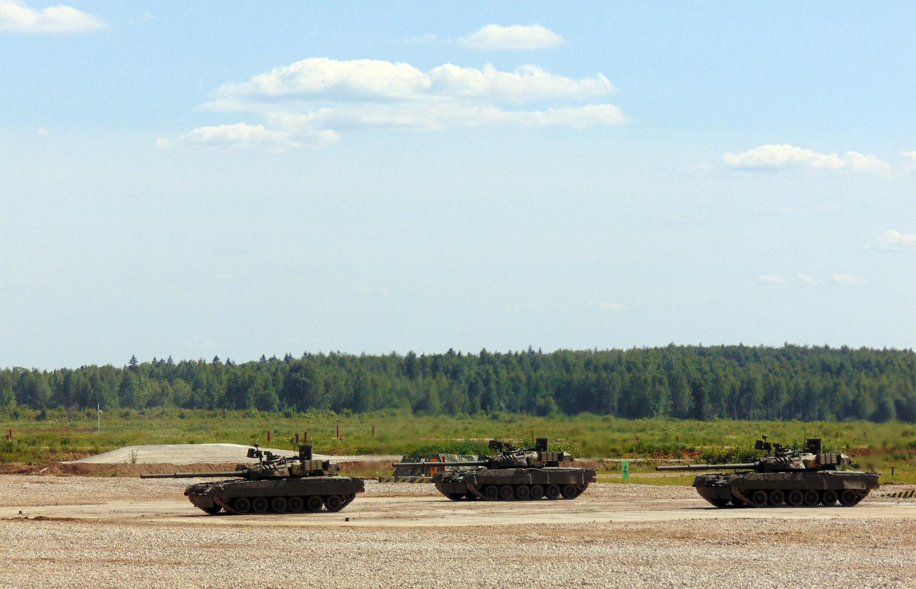 Russian tanks in action